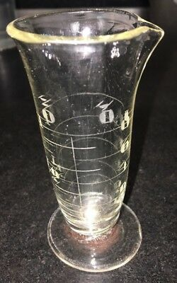 """Antique Glass Apothecary Beaker Etched  Footed Spout Barware Mixology 3.75"""""""