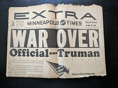 August 14, 1945 Newspaper-Minneapolis Daily Times, Third Extra Edition: WAR OVER