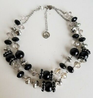 Vintage Signed Crown Trifari Double Strand Glass Crystal Necklace Black Silver