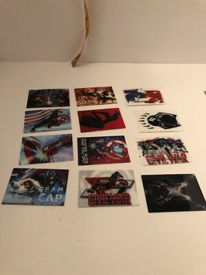 Marvel Captain America Civil War Vinyl Sticker Set 1-12 Complete Set