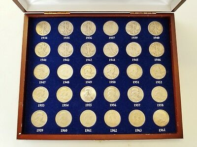 United States Silver Half Dollar Collection 30 Coins In Wood Presentation Case