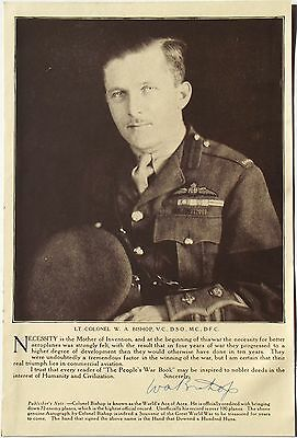 Air Marshal Billy Bishop Highest Scoring WWI Candian Fighter Ace Autograph #2