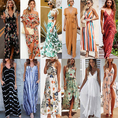 Womens Floral Long Maxi Dress Short Sleeve Evening Party Summer Beach Dress Lot