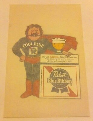Rare COOL BLUE PABST BLUE RIBBON Beer Iron On Transfer Vintage Free Shipping
