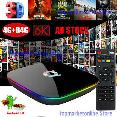 Q Plus 4+64G 6K Android 9.0 OS Quad Core Smart TV BOX WIFI Media Player 3D Films