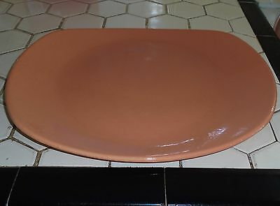 "VINTAGE 1950s MODERN SALEM CHINA HARMONY HOUSE JUBILEE PEACH CORAL 13.5"" PLATTER"