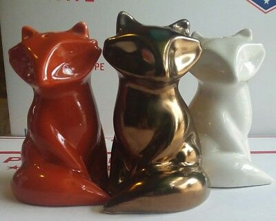 Porcelain Foxes Salt and Pepper Shakers | Holiday Mini NEW WHITE, BRONZE&RUST
