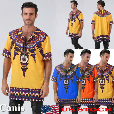 Mens African Tribal Clothing Dashiki Printing Tops Mexican Hippie Tee T Shirt US