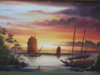Oriental Oil Painting Chinese Junk - Sailing Ship At Sea Signed Framed Vintage