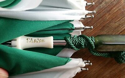 Vintage SHELTA umbrella parasol in green and white with Lucite?  handle