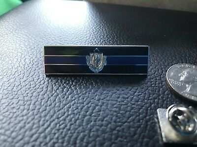 Massachusetts Flag Thin Blue Line Police Pin