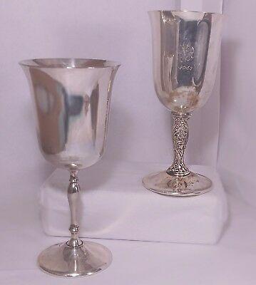 Leonard SILVER and W. M. Roger's Goblets 1 ENGRAVED AND PLATED