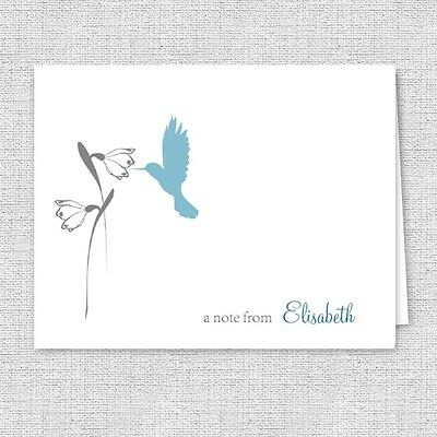 hummingbird and flower printed note cards personalized stationery color choice - Personalized Stationery Cards