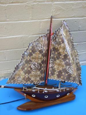 Vintage  Sailing Wooden Ship Lamp W  Batik Sails Made In Malacca 1950's