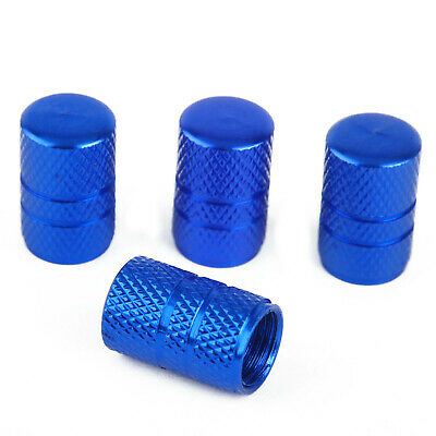 4pcs Universal Car Aluminum Alloy Wheel Tire Valve Air Stem Cap Cover Blue New