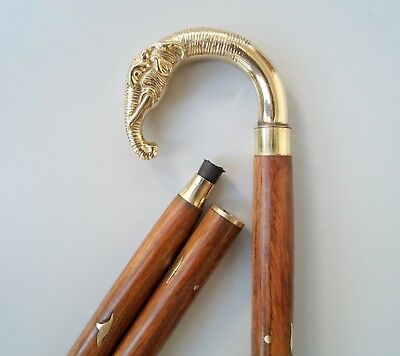 Brass Victorian Elephant Handle Style Gentlemen's Cane Wooden Walking Stick 36""