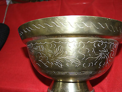 Antique Brass Oriental Bowl w Engraved Dragon w Chinese  Stamp C1920's