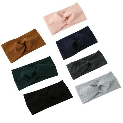 Women Girls Sport Makeup Elastic Turban Wide Knitted Knotted Hair Band Headband
