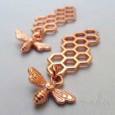 Bee Honeycomb Charms 46mm Wholesale Rose Gold Tone Pendants C7853 - 2, 5, 10PCs