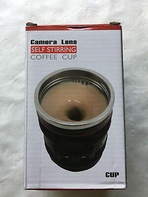 Camera Lens Self Stirring Cup Stainless Steel Travel Coffee Mug Mixer Fanny GIft