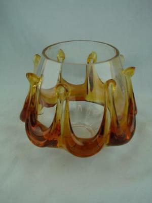 Beautiful Vintage / Retro Heavy Oil Lamp Shade, Murano Style Amber & Clear Glass