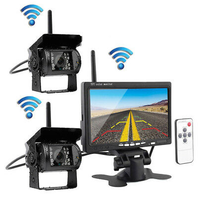 "Car 7"" Monitor+2x Wireless Rear View Backup Camera Night Vision for RV Truck Bus"