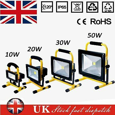 Rechargeable Floodlight LED Flood Light 30W Security Outdoor Work Light +UK Plug