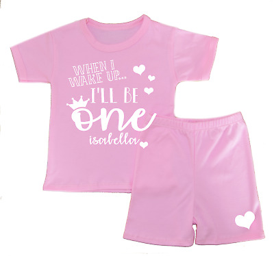 Personalised When I Wake Up.. 1 Shorts Pyjamas Girl's Pjs Birthday Gifts First