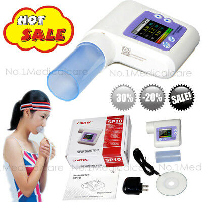 Handheld Spirometer digital lung volume check,software,mouthpieces,CE