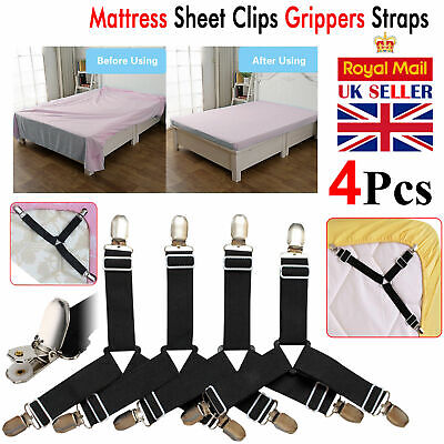 Adjustable 4pcs Bed Sheet Holders Fasteners Grippers Clips Suspenders Straps UK