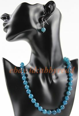"""Hot 10mm natural pale blue Aquamarine Faceted round necklace 18 /""""AAA"""