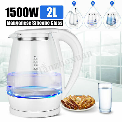 2L Electric Kettle LED Illuminated Glass Tea Kettle Office/Home Quick Boiler