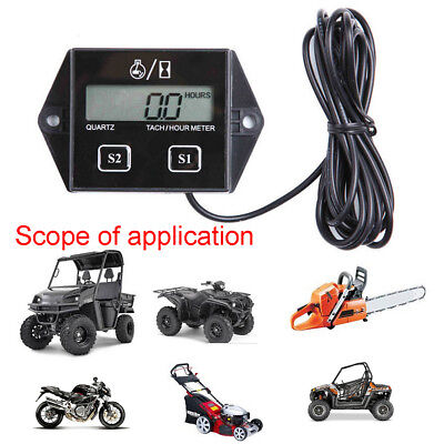 3V Digital Motorcycle LCD Racing Spark Engine Plug Tach Hour Meter Tachometer