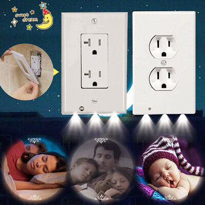 Night  Wall Outlet Cover plate Plug Cover With LED Lights Hallway Bathroom
