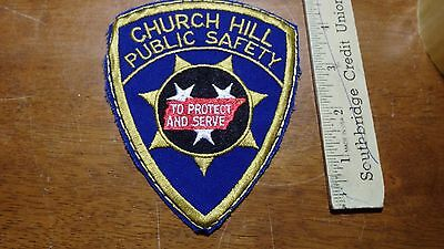 Vintage  Church Hill Public Safety Tennessee Police   Patch  Bx D #4