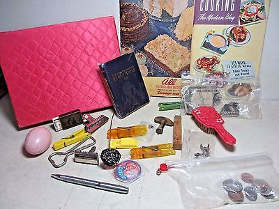 Quilted Hankie Box Mixed Lot of Junk Drawer Items Clock Key Mechanical Pencil &