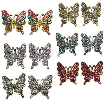 Ladies  Butterfly Sparkly Silver/Gold Plated DIAMANTE Studs Earrings Bling Gift