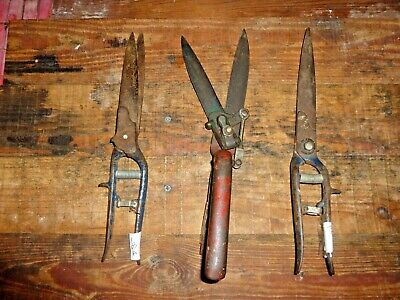 Three Vntg Old  Manual Grass Cutting Hand Shears Blades Look Great Works Well