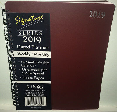 "NEW 2019 Weekly Monthly Planner Signature Calendar Burgundy Red Spiral 8""x10"""