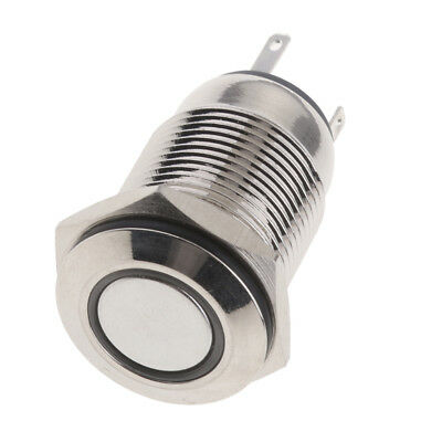 16mm AC 250V 3A Momentary Push Button ON/OFF Switch with 12V White LED Ring