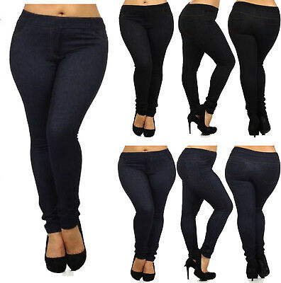 Women Jeans Skinny Ladies Womens Fit Stretch Jeggings Trousers Denim Blue Black