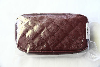 SINGAPORE AIRLINES First Class Female Amenity Kit FERRAGAMO Burgundy Quilted New