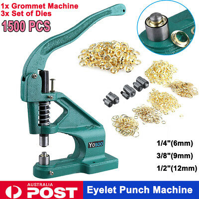 1500pcs Grommet Eyelet Hole Punch Hand Press Punching Machine 3 Dies 6/10/12mm