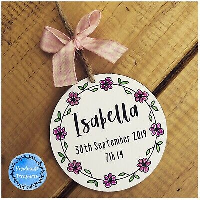 Personalised New Baby Gifts Christening Plaque Name Birth Girl Nursery Bedroom
