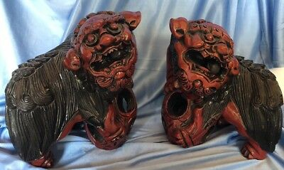 Vintage Wood Carving Foo Fu Dogs Lions Moving Balls Lacquered Statue Pair Rare