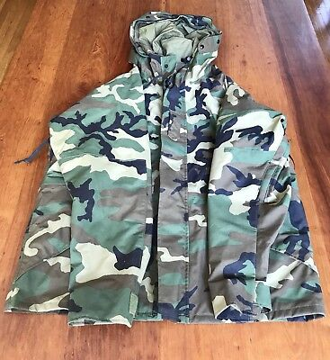 GoreTex Woodland Camo Military Parka Cold Weather Jacket Size L Reg NEW NWT
