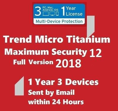 Trend Micro Maximum Security2018 1 Year 3 Devices