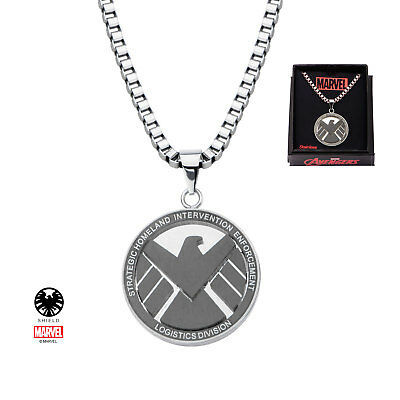 "Marvel Comics AGENTS OF SHIELD LOGO CHARM NECKLACE Stainless Steel 24"" Chain"