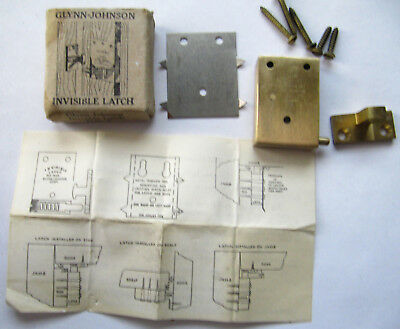 NOS Vintage Glynn Johnson Invisible Latch Type A Solid Brass Push Lock Release
