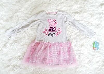 NWT Peppa Pig 5T Toddler Girls Long Sleeve Tutu Dress Grey Pink